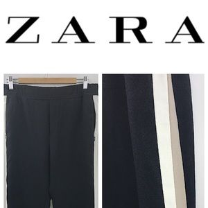 Zara Med Black Striped Panel Stretch Casual Pants